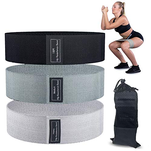 Literal Savage Fabric Workout Resistance Bands Set, 3 Pack, Medium, Heavy, X-Heavy, Progressive Fitness Training, Workout Equipment for Legs, Butt and Core, Drawstring Travel Bag