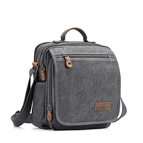 "Plambag Canvas Messenger Bag Tablet Bag Fit 10"" iPad Small Travel School Crossbody Bag for Men Grey"