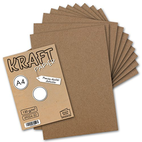 50 Blatt I Vintage Kraftpapier DIN A4 120 g/m² braunes Recycling-Papier, 100% ökologisch Brief-Bogen - Briefpapier I UmWelt by GUSTAV NEUSER®