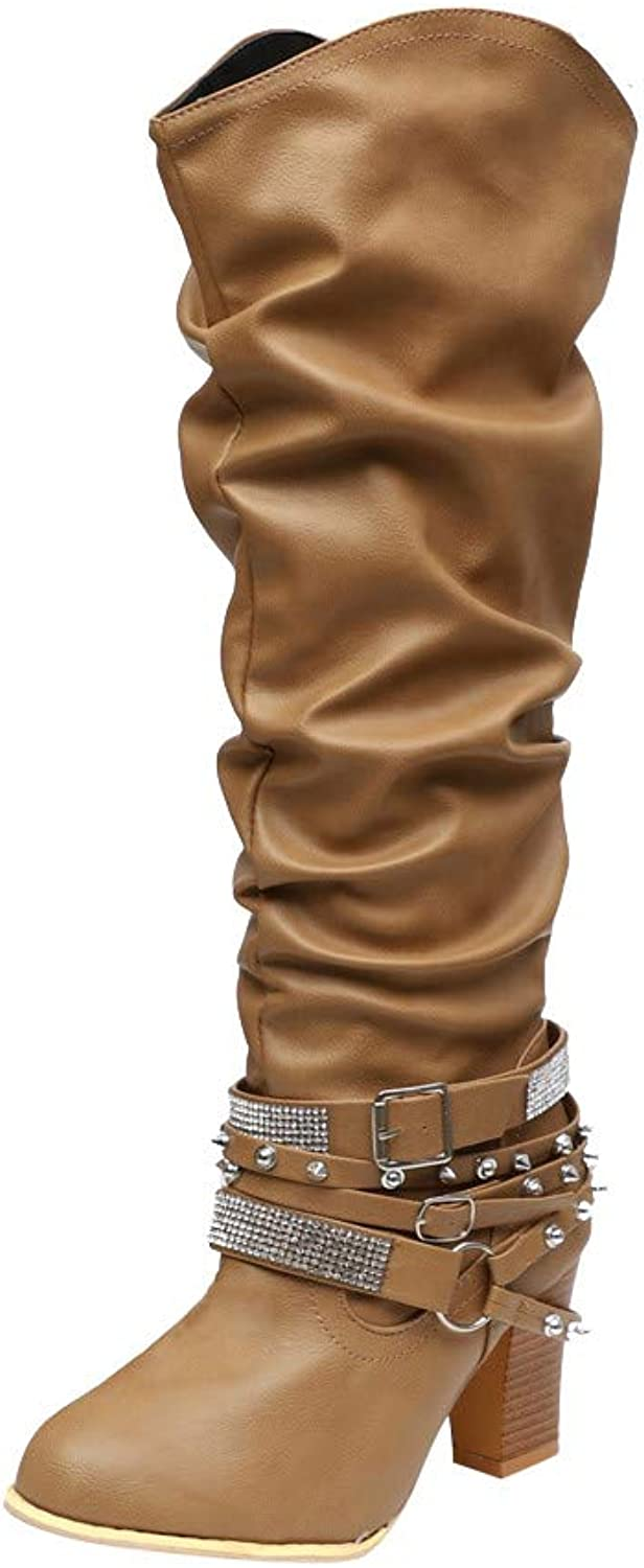 Fullfun Women High Square Heels Loose Long Knee Boots with Rinestone Buckle Strap Red