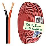 erenLINE® 20 m Lautsprecher-Kabel 2X 1,5 mm² rot/schwarz; Boxenkabel; Lautsprecher-Verlegekabel: für HiFi Anlage, Home Cinema, KFZ/Auto, Multi-Media; Meterware