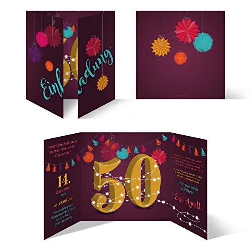 30 x Runder 50. Geburtstag individuelle Einladungskarten Einladungen - Girlande
