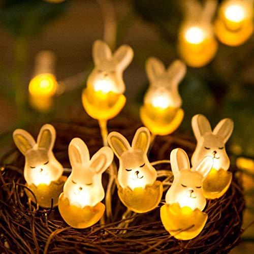 Kansang 30 LED Rabbit Fairy Lights for Easter, Bedroom, Wall, Balcony, Garden, Home Decoration (Warm White)