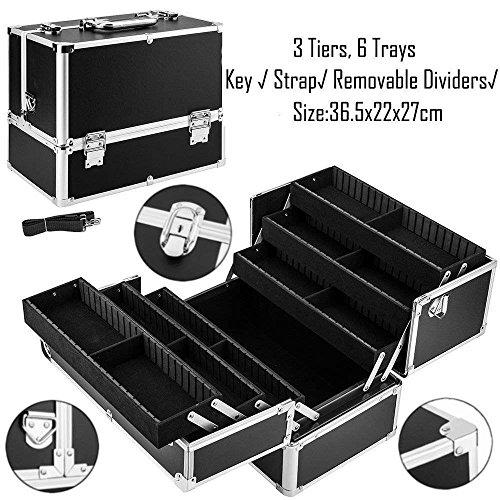Generic Coque Organizerp Box Boîte de Rangement Noir Grande Beauté Cosmétique Vernis à ongles Make Up Tech Coque Organiseur Noir Grande Beauté Font