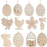 Showlovein 48+1Pcs Holz Osterdeko Ostern Tag Unvollendete Ostergeschenke Kinder zum Aufhängen Eier Osterhase Hühner Tulpe mit Seil DIY Ostern Basteln Osterdekoration