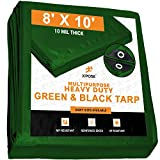 Heavy Duty Poly Tarp 8 Feet x 10 Feet 10 Mil Thick Waterproof, UV Blocking Protective Cover - Reversible Green and Black - Laminated Coating - Grommets - by Xpose Safety