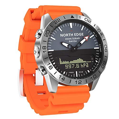 Reloj inteligente militar para hombre Relojes deportivos electrónicos para exteriores 200M resistente al agua 50M Reloj de pulsera de buceo de profundidad con cronómetro Compás Calorías (Orange)