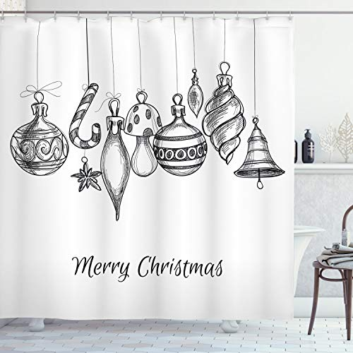 ABAKUHAUS Navidad Cortina de Baño, Adornos incompletos, Material Resistente al Agua Durable Estampa Digital, 175 x 200 cm, Blanco Negro