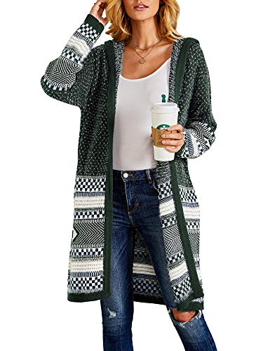 Misassy Womens Hooded Open Front Cardigans Sweater Boho Loose Embroidery Knit Long Kimono Duster Outwear with Pockets Green