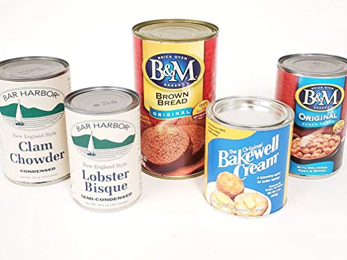 Box of Maine Canned Goods Gift Set - BM Baked Beans, Lobster Bisque, Clam Chowder, Bakewell Cream and Brown Bread