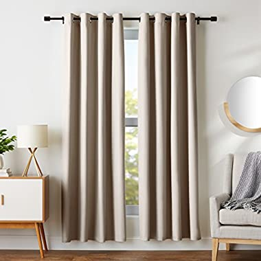 AmazonBasics Room-Darkening Blackout Curtain Set with Grommets - 52  x 84 , Taupe