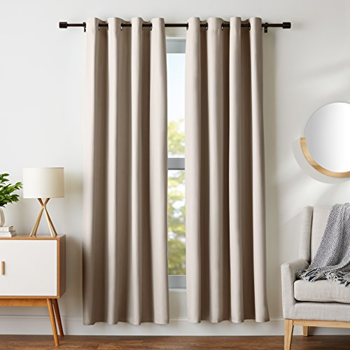 """Amazon Basics Room Darkening Blackout Window Curtains with Grommets - 42"""" x 84"""", Taupe, 2 Panels"""