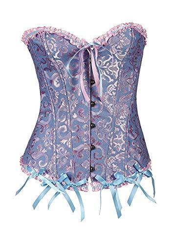YMING Corsé para mujer con encaje en la cintura, de satén, corsé con forma de hueso y cintura azul XL