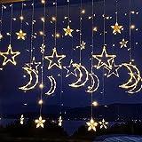 Ibello Cortina de luces, estrellas y lunas, cadena de luces LED, 3,5 m, conector con 8 modos de iluminación, decoración interior, blanco cálido, funciona con corriente, ideal para ventanas