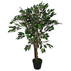 Leaf Design UK – Árbol de ficus Artificial (90 cm), diseño de Flores, Color Negro