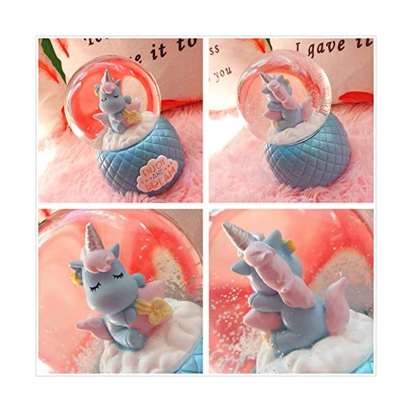 Musical Unicorn Snow Globe for Kids, 100mm Resin Glitter Music Box with Multiple Tunes, Gift for Girls - Blue 8