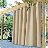 StangH Outdoor Curtain Panels - Extra Wide 100 inches Blackout Patio Curtains Outdoor Waterproof Drapes Farmhouse Curtains for Back Deck / Lanai / Porch / Pool Hut, Cream Beige, W100 x L84, 1 Panel