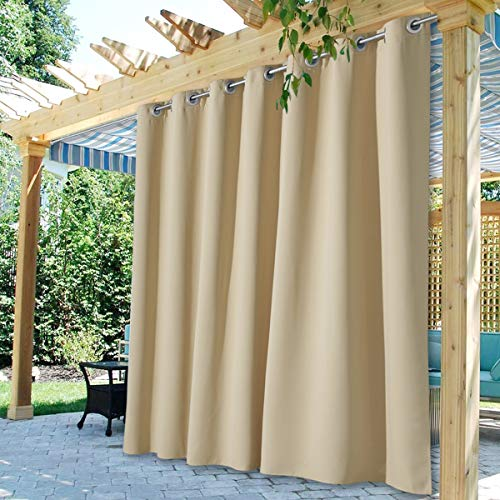 StangH Extra Long Curtains Outdoor - 108 inches Length Waterproof Outdoor Patio Curtains Blackout Thermal Insulated Sliding Door Drape for Porch / Balcony, Cream Beige, W100 x L108, 1 Panel