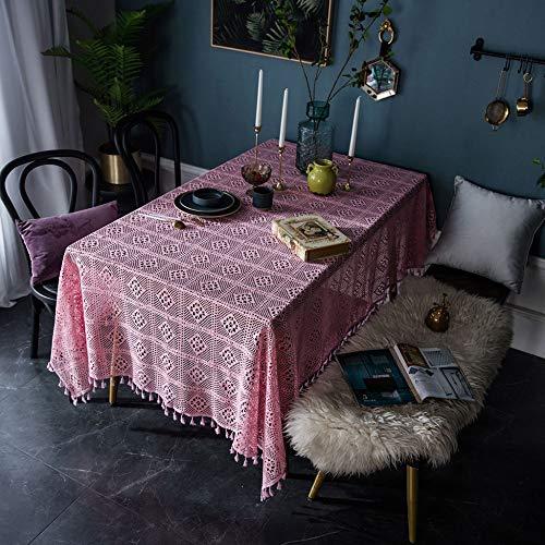 Rectángulo Retro Paño De Tabla Mano Crochet Tejer Hollow Literario Mesa De Centro Cubierta De Tela De Tela Decoración del Hogar Cocina,Pink-140x180cm(55x71in)