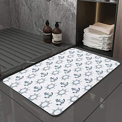 La Alfombra de baño es Suave y cómoda, Absorbente, Antideslizante,Patrón con Anclajes Dibujados a Mano y volantesApto para baño, Cocina, Dormitorio (50x80 cm)