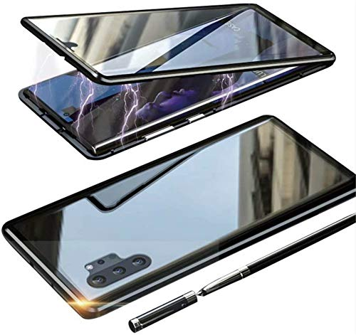 NC Magnetic Adsorption Phone Case for Samsung Note 10 Plus Upgraded Two Side Tempered Glass,Blue Samsung Galaxy (Black,note10plus)