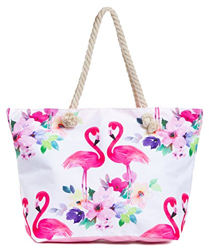 Leisureland Large Beach Tote Bag, Top Zipper Boat Bag (Flamingo)