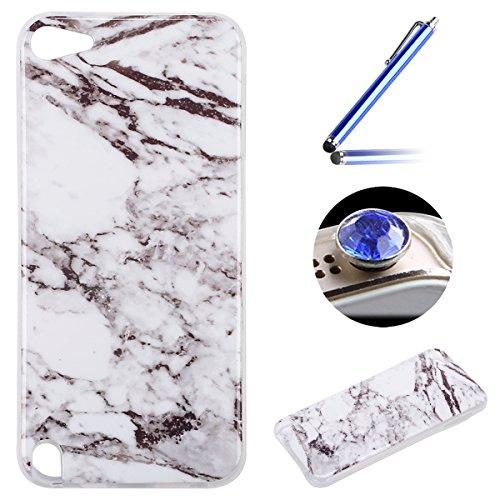 Etsue pour [ iPod touch 5/6 ] Doux Protecteur Coque,TPU Matériau Frame est Transparent Soft Cover pour iPod touch 5/6,Marbre Motif par Dessin de Mode Case Coque pour iPod touch 5/6 + 1 x Bleu stylet + 1 x Bling poussière plug (couleurs aléatoires) - Blanc