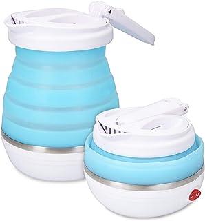Navaris Faltbarer Camping Reisewasserkocher 0,6l - 14x16cm - mit Transporttasche - Mini Dual Spannungswechsel Faltwasserkocher faltbar 750W Weiß Blau