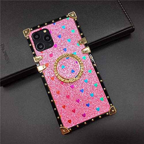 for Samsung Galaxy Note 8 Bling Case,SelliPhone Luxury Glitter Bling Sparkle Cute Love Square Gold Corner Soft Trunk Cover with Diamond Finger Ring Grip Kickstand Phone Skin,Pink