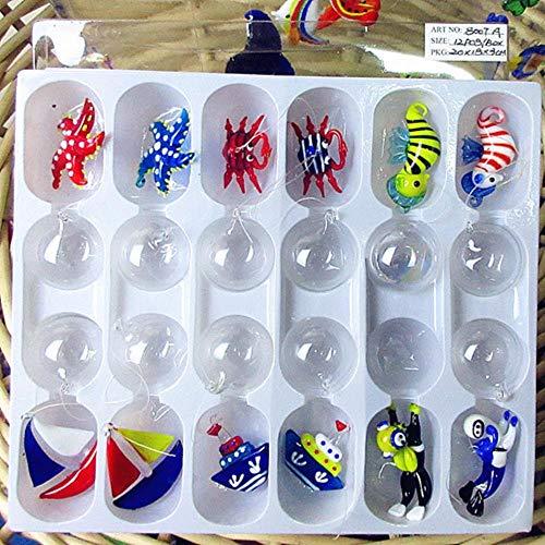 THREE Schwimmende Glasfische - Aquarium Mini Fish Figur - Mundgeblasener Glasfisch Lampe funktioniert Miniaturfisch Mundgeblasenes Glas Tierstatuen, fleckig