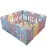 Baby Playpen, Play Yard with Activity Panel Kids Activity Centre 14 Panel Safety Play Yard Baby Fence Home Indoor Outdoor for Children 10 Months~6 Years Old