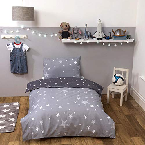 Dreamscene Galaxy Stars Toddler Duvet Cover with Pillowcase Kids Reversible Charcoal Bedding Set for Girls Boys, Silver Grey, Junior/Cot Bed Size