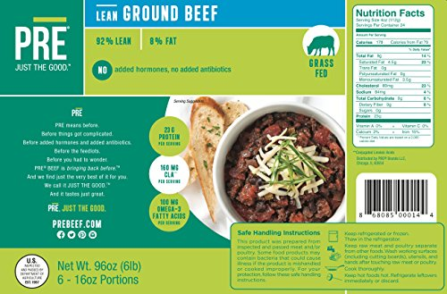 Taste The Obsession - PRE 100% Grass Fed Beef - 6 x 1 lb. 92% Lean Ground Beef from New Zealand