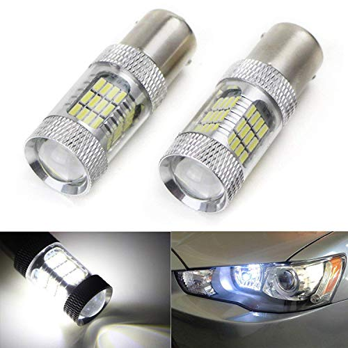 iJDMTOY (2) CANbus Error Free Xenon White 1156 54-SMD LED Bulbs Compatible With 2008-2015 Mitsubishi Lancer or Evolution X Daytime Running Lights (With Factory Equipped HID Headlight ONLY)