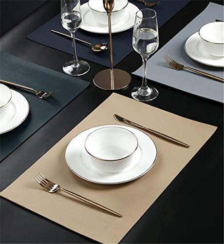 JameStyle26 4er Tischset Platzset Modern PU Leder Design Platzmatte hochwertige Tischunterlagen Tischdecke wasserdicht 45x33cm (Variante 1)