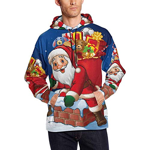 INTERESTPRINT Cartoon Santa Claus Men's Hoodies Sweatshirt Pullover 4XL