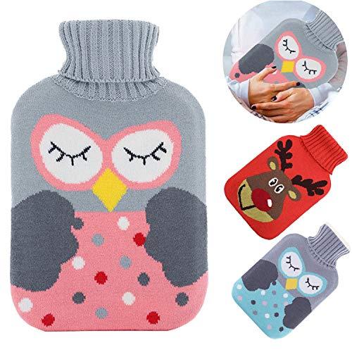 Wärmflasche mit Bezug, Wärmflasche 2 Liter mit Strickabdeckungen Abnehmbare und waschbare Wärmflasche,Wärmflasche Kinder Sicher und langlebig,Rollkragen Wärmekissen Wärmeflasche für Familie(Rosa Eule)