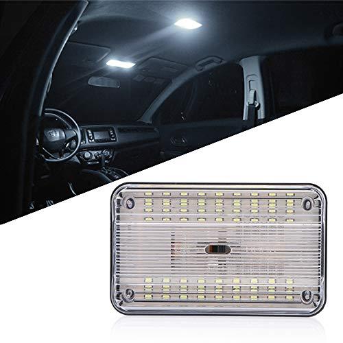 OurLeeme Illuminazione interna per auto, Lampada per interni a LED super luminosa a soffitto per auto con luce rettangolare con pulsante di accensione/spegnimento per auto 12V