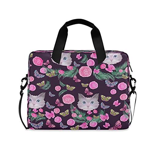 ECHOBU - Bolsa de hombro para ordenador portátil de 15,6 pulgadas, diseño floral, diseño de gato y mariposa, para negocios, bolsa de mano