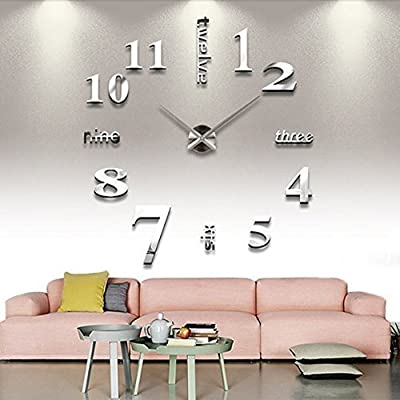 AngelaKerry 3D DIY Wall Clock Frameless Large Wall Decoration For Living  Room Bedroom   Silvery