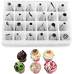 Yihya Stainless Steel 24 pcs Chef Bakers Icing Piping Nozzles Cake Tips Pastry Tool Box Set with Coupler plus Strands Best for Cake Decoration