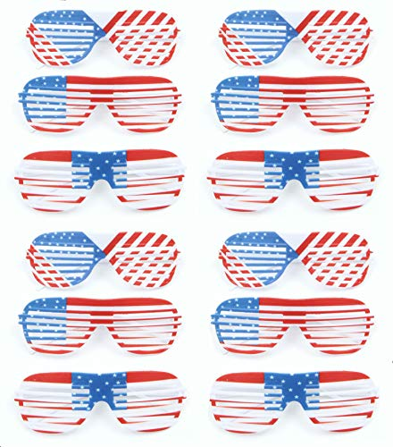 American Flag USA Patriotic Light Up Shutter Shades Sunglasses LED Flashing American Flag July 4th Decorations, Light Up Red White and Blue 4th July Accessories for Kids Men Women - 12 Pack