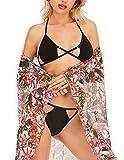 GALEBOVA Traje de baño de Transparente Sarong, Conjunto 3 Piezas de para Mujer de Negro Bikini de Playa de Gasa (L)