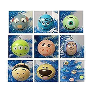 Up, Toy Story, Ratatouille, Monsters Inc. Pixar Themed 8 Piece Holiday Christmas Tree Ornament Set Featuring Dug, Russell, Buzz Lightyear, Hamm, Alien, Remy, Sulley and Mike Wazowski - Shatterproof Plastic Ornaments are Around 2  Tall and Wide