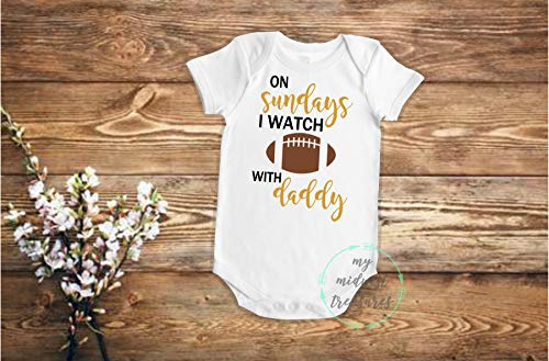 Football Baby Bodysuit | On Sundays I Watch Football With Daddy Shirt | First Sunday Football Season Baby Boy or Baby Girl Outfit