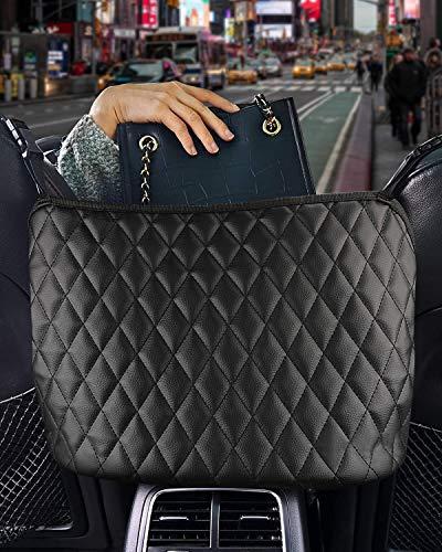 Car Pocket Handbag Holder, Car Seat Storage Organizer and Handbag Holder, Leather Handbag Holder for Purse Storage Phone Documents Pocket, Barrier of Backseat Pet Kids