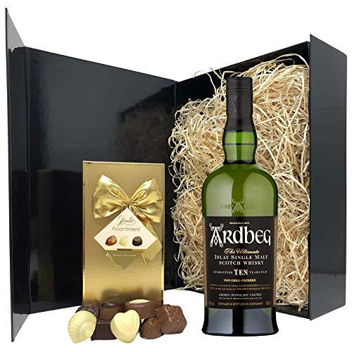 Islay Whisky Gift Set - Ardbeg Islay Scotch Whisky and Chocolates Gift Hamper Box - Birthday, Christmas Islay Single Malt Whisky Gifts for Men and Women