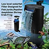 Aquarium Turtle Filter Waterfall Flow Water Clean Pump Bio-Filtration for Reptiles Tank Low Level Waterfall Filter for Small Fish Tank Turtle Tank Shrimp Amphibian Frog Crab (600L/H Aquarium Filter)