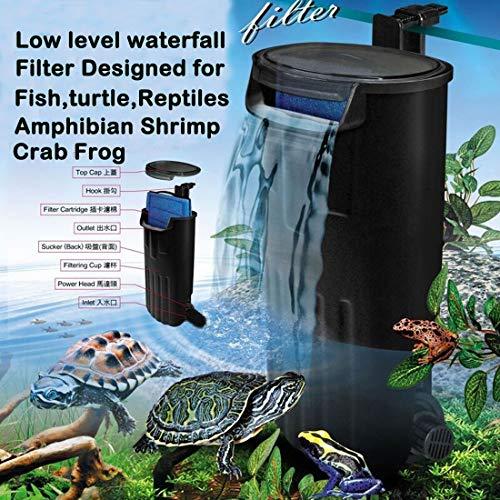 Aquarium Turtle Filter Waterfall Flow Water Clean Pump Bio-Filtration for Reptiles Tank Low Level Waterfall Filter for Small Fish Tank Turtle Tank Shrimp Amphibian Frog Crab (600L/H Aquarium Filter)