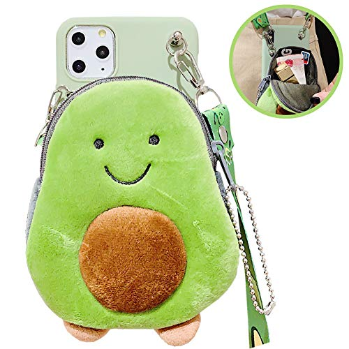 SGVAHY Fluffy Wallet Case for iPhone 7 Plus / 8 Plus Cute Avocado Coin Purse Cover Case with Long Lanyard Ultra-Thin Soft Silicone Case Shockproof Protective Case (Avocado, iPhone 7 Plus / 8 Plus )